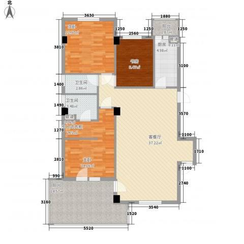 高教新城・学区嘉园3室1厅2卫1厨112.00㎡户型图