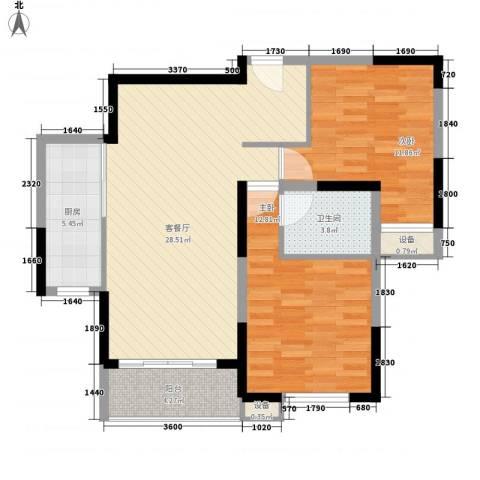大华梧桐城邦2室1厅1卫1厨98.00㎡户型图