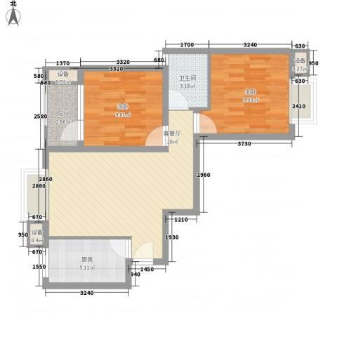 大华梧桐城邦2室1厅1卫1厨75.00㎡户型图