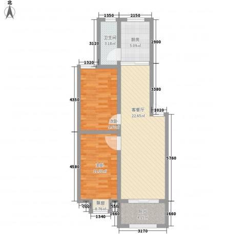 和园小区2室1厅1卫1厨82.00㎡户型图
