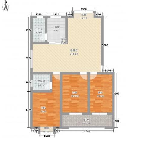 和园小区3室1厅2卫1厨115.00㎡户型图