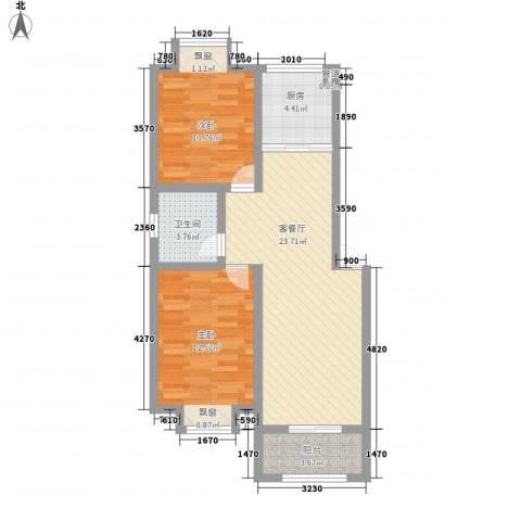 和园小区2室1厅1卫1厨85.00㎡户型图