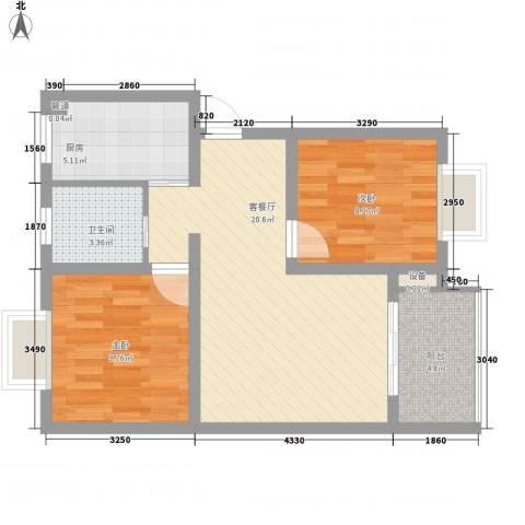 大华梧桐城邦2室1厅1卫1厨76.00㎡户型图