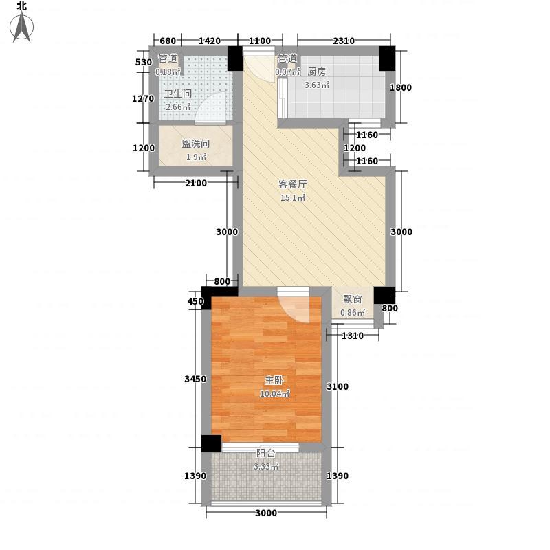 橙堡52.78㎡F1型户型1室2厅1卫1厨