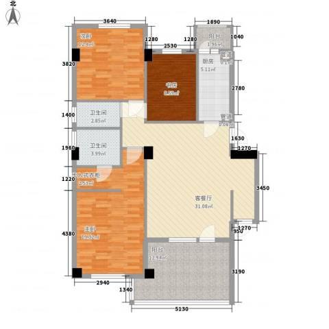 高教新城・学区嘉园3室1厅2卫1厨111.00㎡户型图