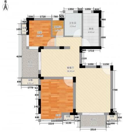 大华梧桐城邦2室1厅1卫1厨93.00㎡户型图