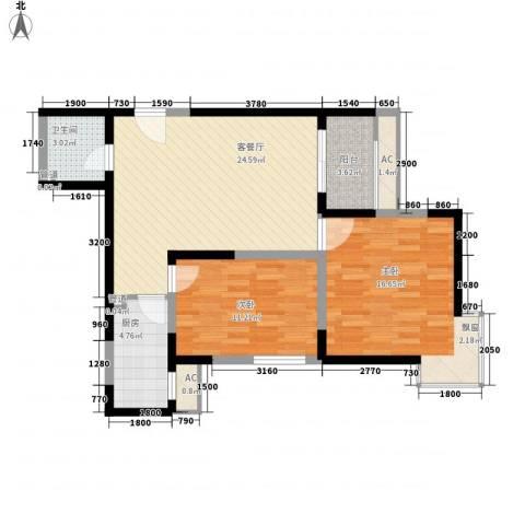 宏府�翔九天2室1厅1卫1厨76.10㎡户型图