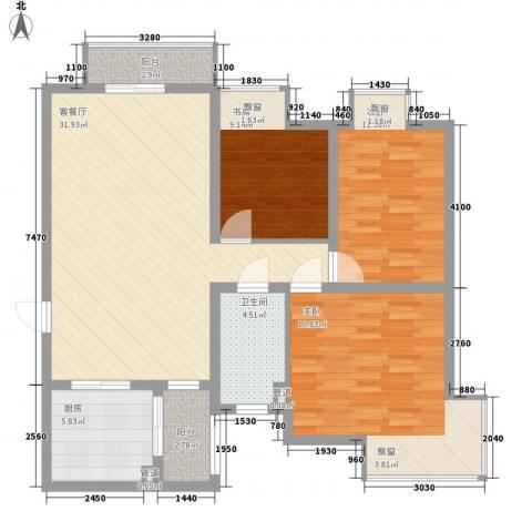 天正银河湾3室1厅1卫1厨120.00㎡户型图