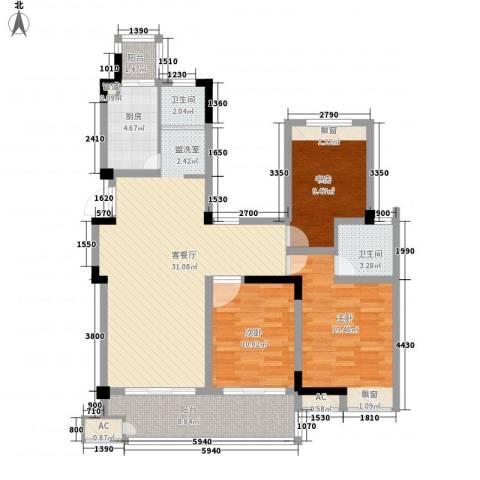 东方威尼斯3室1厅2卫1厨125.00㎡户型图
