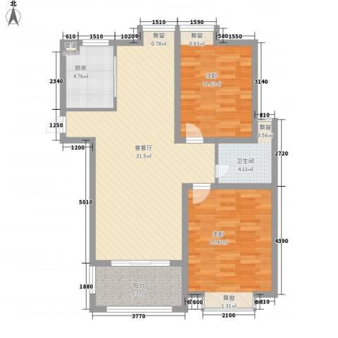 华源山水国际2室1厅1卫1厨104.00㎡户型图
