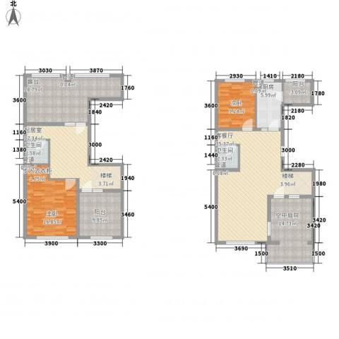 高教新城・学区嘉园2室1厅2卫1厨145.00㎡户型图