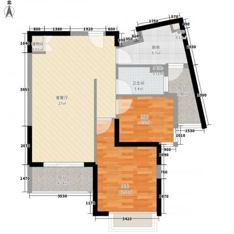 银领公寓2室1厅1卫1厨92.00㎡户型图