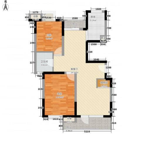 大华梧桐城邦2室1厅1卫1厨104.00㎡户型图