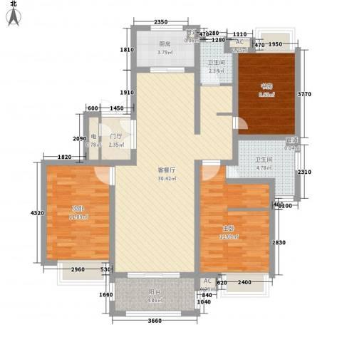 绿地国际花都3室1厅2卫1厨120.00㎡户型图