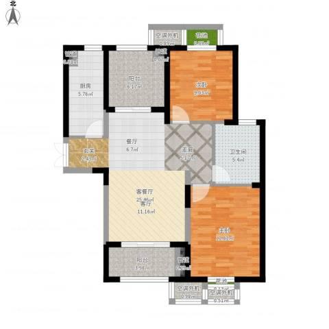 置地青湖语城2室1厅1卫1厨108.00㎡户型图