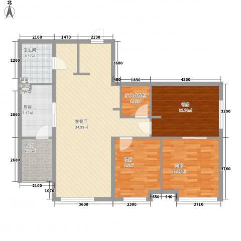 万科春河里3室1厅1卫1厨123.00㎡户型图