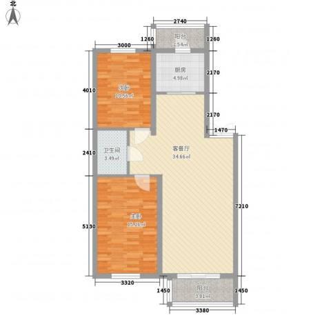 如意名苑2室1厅1卫1厨98.00㎡户型图