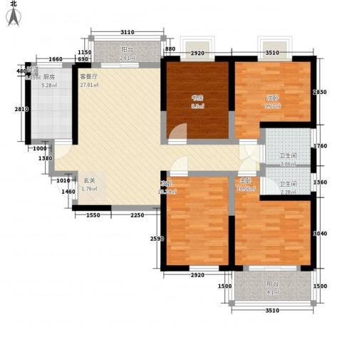 明坊4室1厅2卫1厨123.00㎡户型图