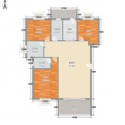 名仕园3室1厅3卫1厨120.00㎡户型图