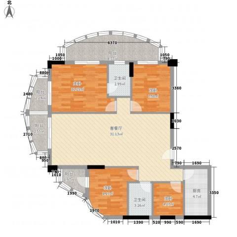 云山雅居4室1厅2卫1厨129.00㎡户型图