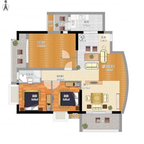 第一国际三期2室2厅1卫1厨144.00㎡户型图