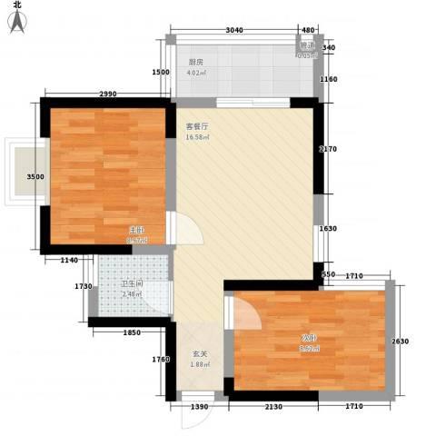 明坊2室1厅1卫1厨60.00㎡户型图