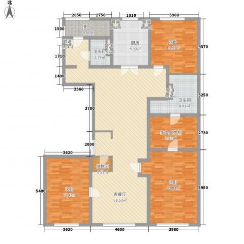 万科春河里3室1厅2卫1厨211.00㎡户型图