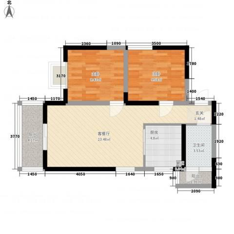 明坊2室1厅1卫1厨83.00㎡户型图