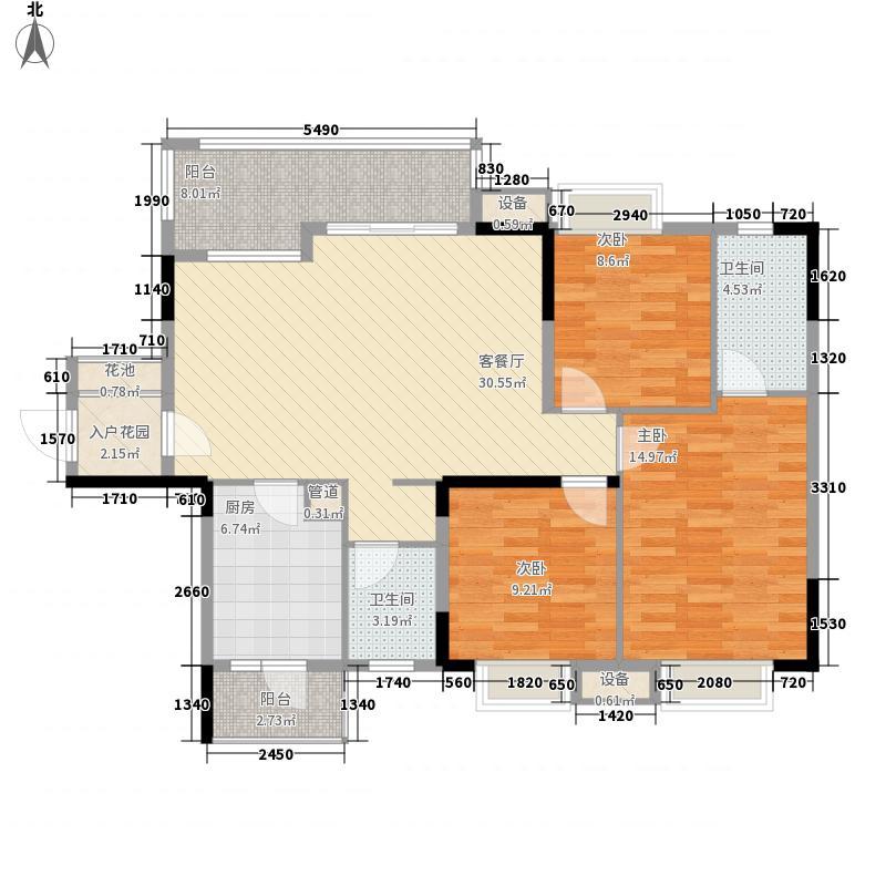 保利温泉新城116.00㎡翰林2号楼D户型3室2厅2卫1厨