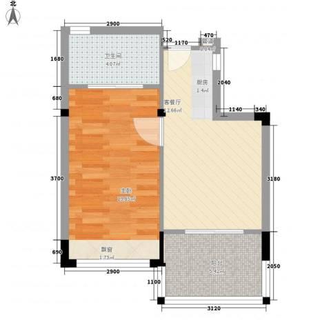 中信庐山西海1室1厅1卫0厨63.00㎡户型图