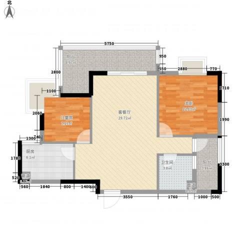 联华花园城2室1厅1卫1厨85.00㎡户型图