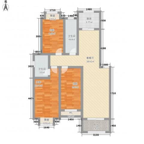 和园小区3室1厅2卫1厨114.00㎡户型图