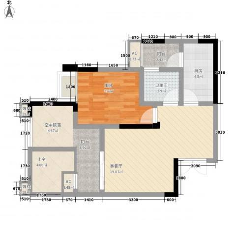 国奥村二期1室1厅1卫1厨80.00㎡户型图