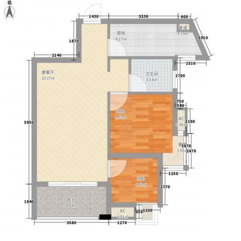 九仰梧桐公寓2室1厅1卫1厨77.00㎡户型图