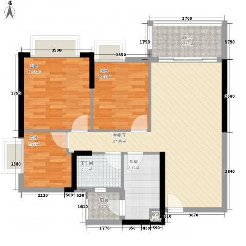 保利城二期3室1厅1卫1厨91.00㎡户型图