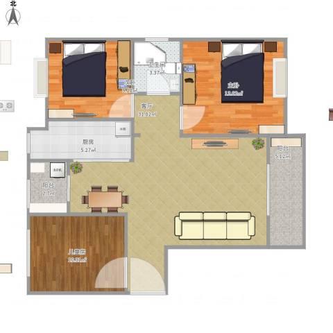 金尧首府3室1厅1卫1厨109.00㎡户型图