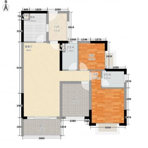 保利城二期2室1厅2卫1厨103.00㎡户型图