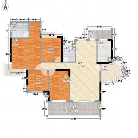 保利城二期4室1厅2卫1厨148.00㎡户型图