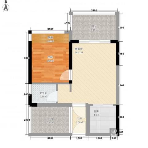东方海岸1室1厅1卫1厨68.00㎡户型图
