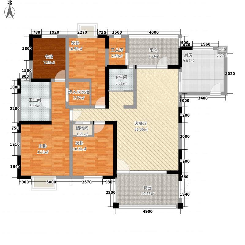东山国际新城166.65㎡D区11-20层B1户型4室2厅2卫1厨