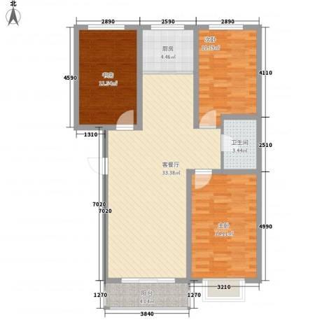 大学时光3室1厅1卫1厨117.00㎡户型图