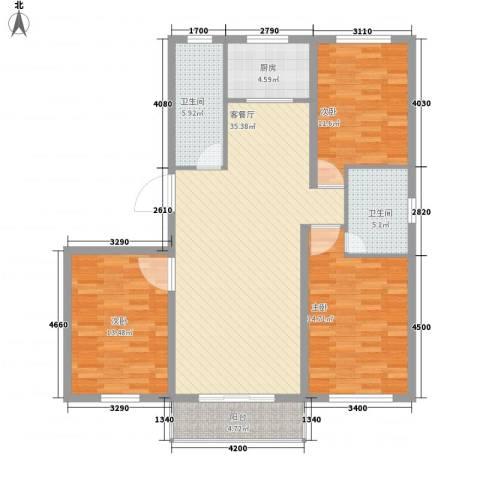 西岸国际3室1厅2卫1厨134.00㎡户型图