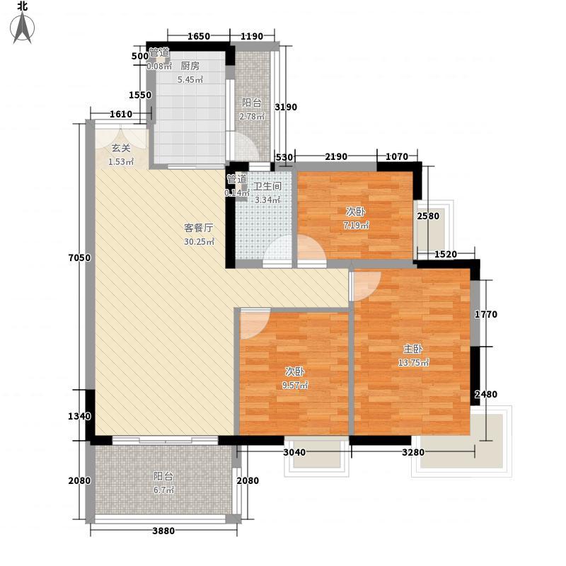 广州富力城112.89㎡广州富力城户型图B1栋4层01单元3室2厅1卫1厨户型3室2厅1卫1厨
