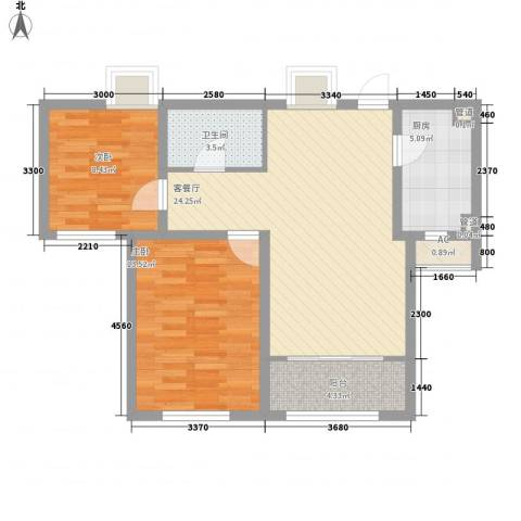 华厦津典三期2室1厅1卫1厨96.00㎡户型图