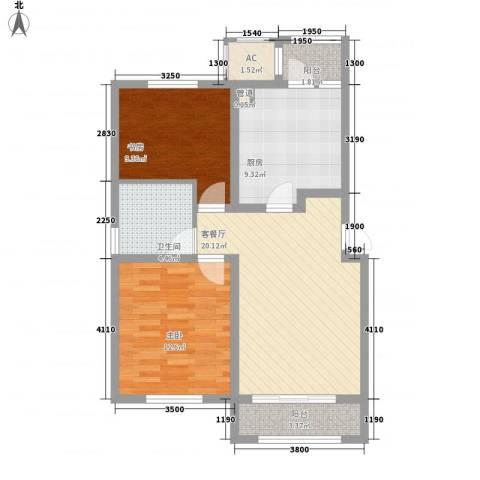 华厦津典三期2室1厅1卫1厨99.00㎡户型图