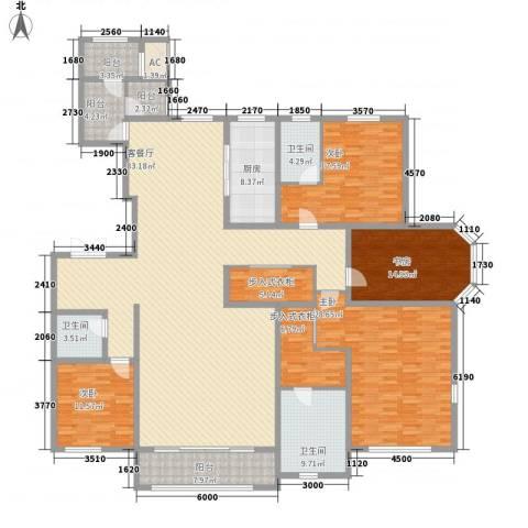 华厦津典三期4室1厅3卫1厨271.00㎡户型图