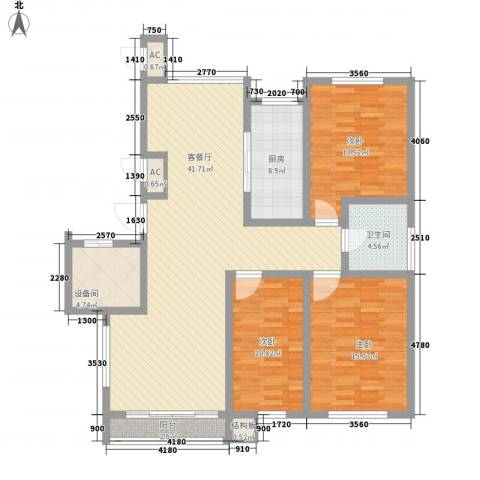 蓝调倾城3室1厅1卫1厨133.00㎡户型图