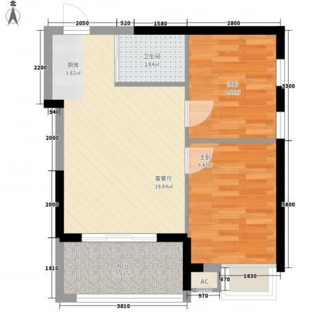 九仰梧桐公寓2室1厅1卫0厨56.00㎡户型图