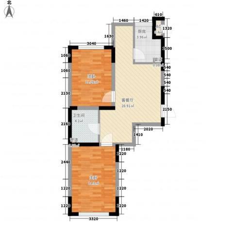 蓝调倾城2室1厅1卫1厨77.00㎡户型图