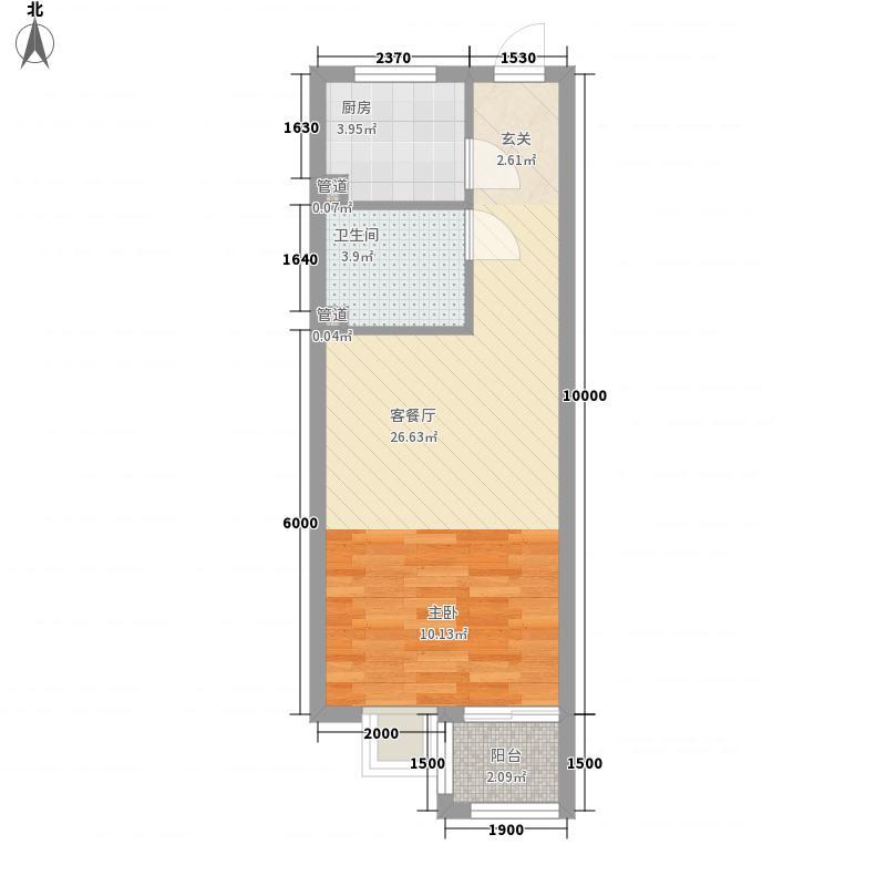 大唐世家动力火车46.00㎡大唐世家动力火车户型图独立主张1室1厅1卫1厨户型1室1厅1卫1厨